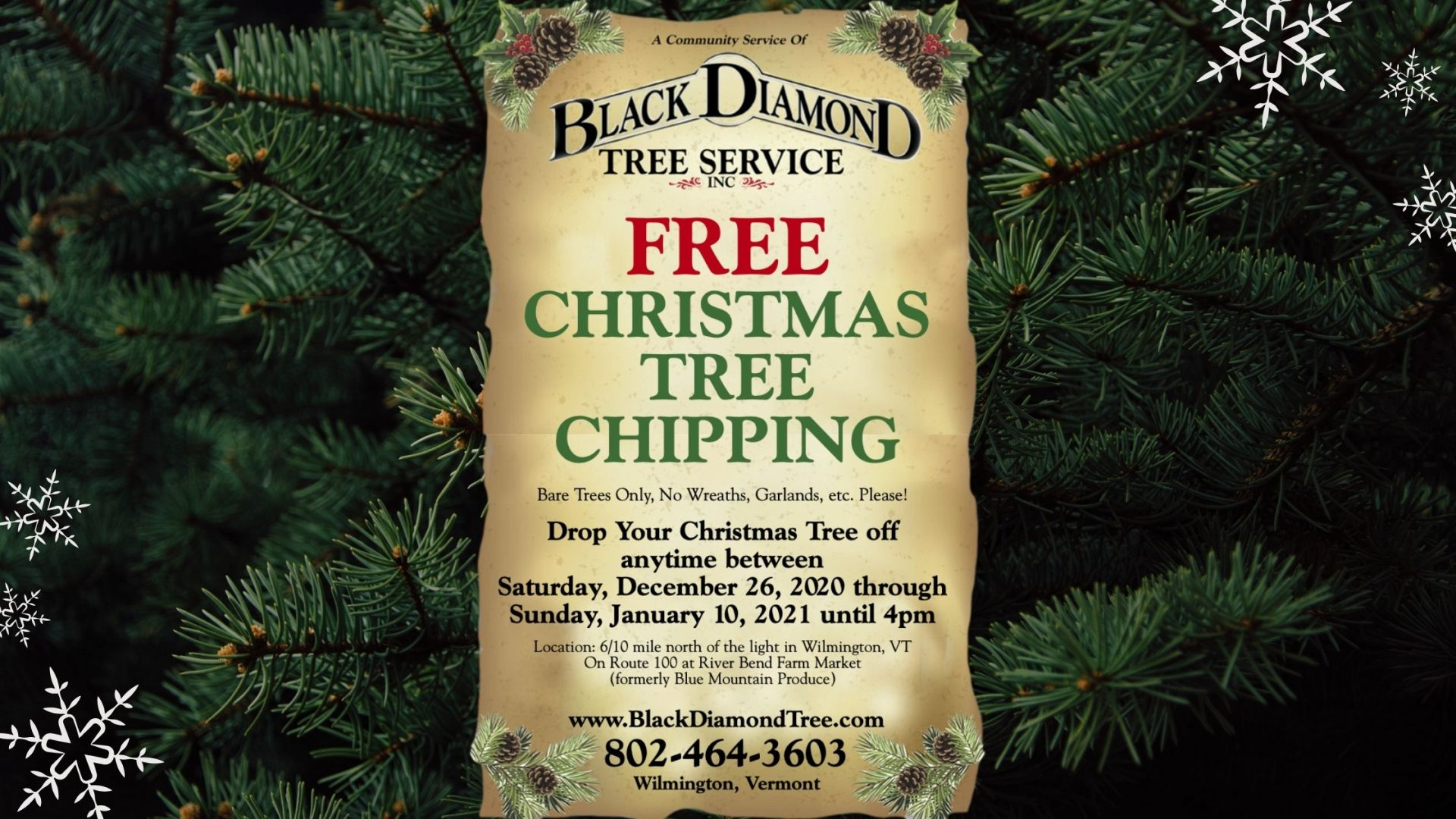 free Christmas tree chipping Vermont